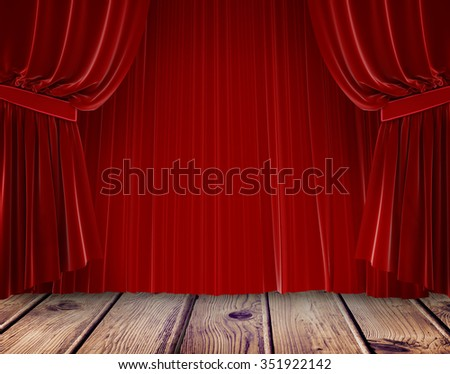 Red curtain pulling back