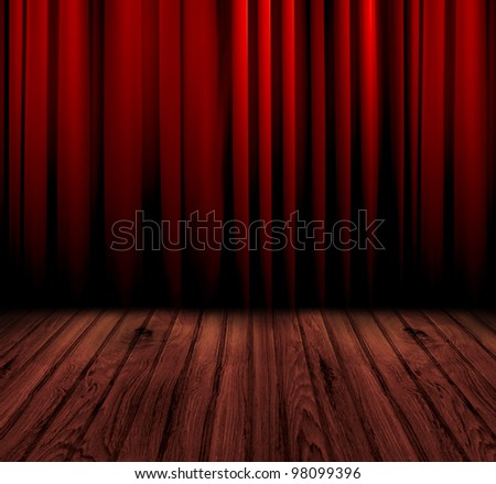 Red curtain room with wooden floor - stock photo
