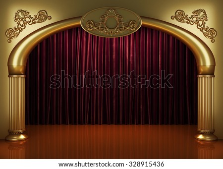 red curtain stage - stock photo