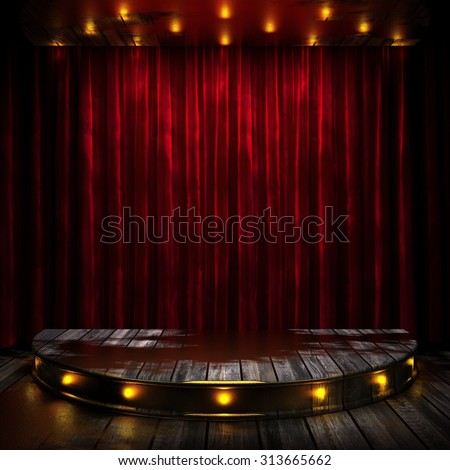 red curtain stage with lights - stock photo