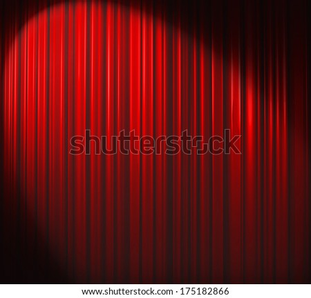 Red curtain with spotlight - stock photo