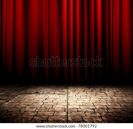 Red curtain with stone floor - stock photo