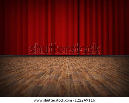 Red curtain with wooden floor - stock photo