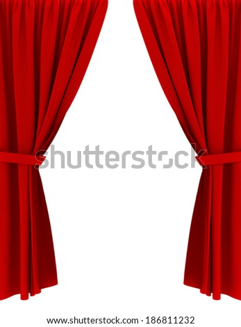 Red curtains. 3d image isolated on white background  - stock photo