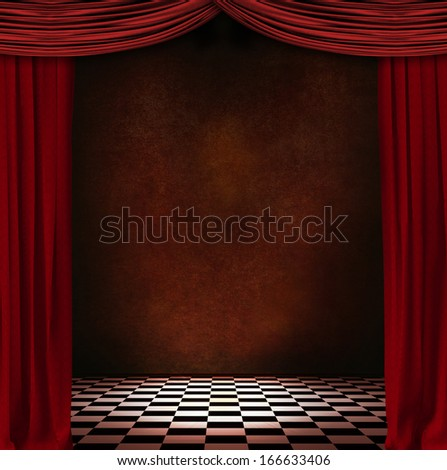 red curtains in a room - stock photo