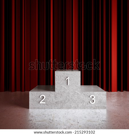 red curtains in room and champion podium - stock photo