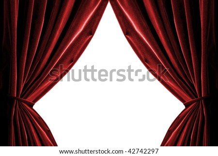 red curtains isolated on white - stock photo
