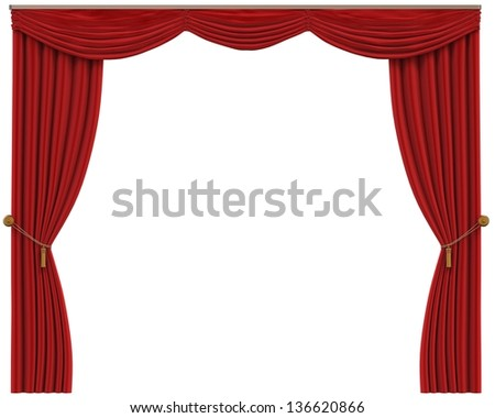 Red Curtains Isolated on White Background - stock photo