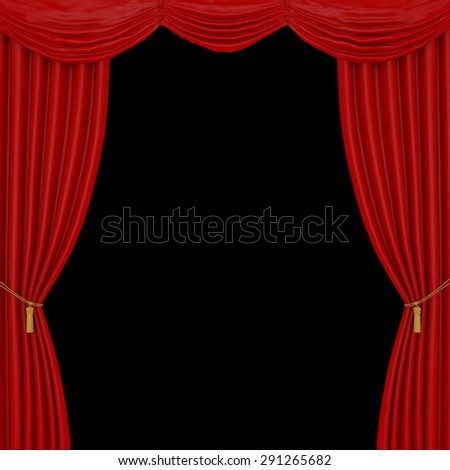 red curtains on a black  background