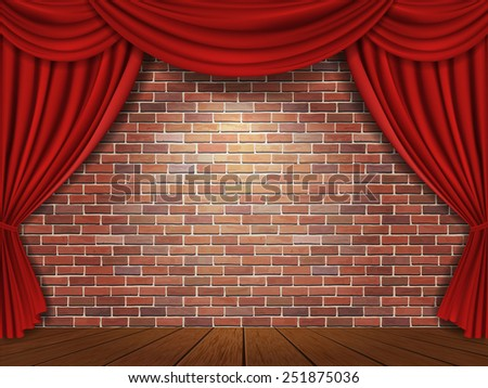 Red curtains on brick wall background - stock photo
