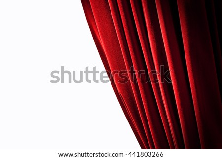Red curtains on the white background - stock photo