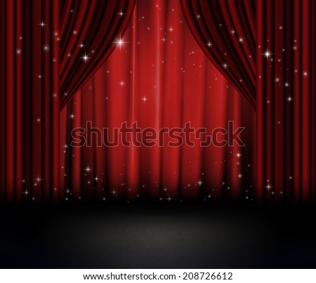 Red curtains on theater with stars. - stock photo
