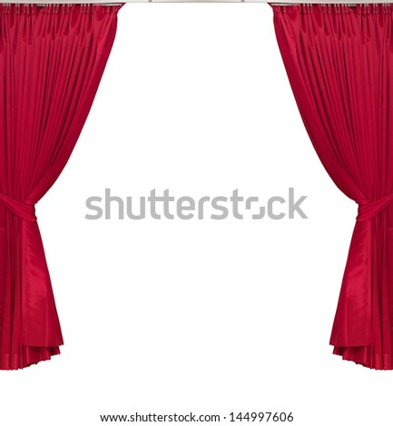 red curtains on white background - stock photo