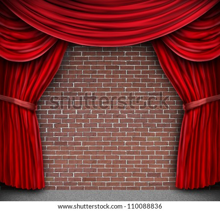 Red curtains or velvet drapes on an old rustic brick wall as a theatrical stage for theater and stand up comedy performance. - stock photo