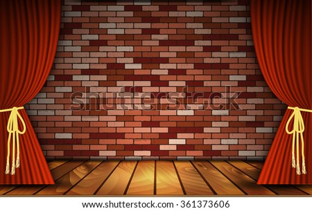 Red curtains or velvet drapes on an old rustic brick wall as a theatrical stage for theater and stand up comedy performance. illustration. Raster version - stock photo