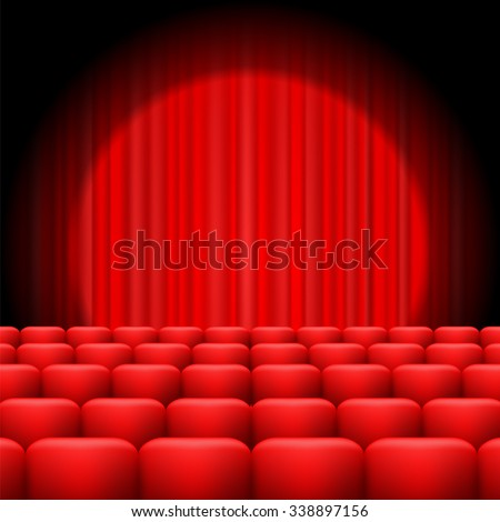Red Curtains with Spotlight and Seats. Classic Cinema with Red Chairs