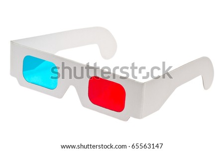 red cyan glasses - stock photo