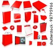 Red 3d blank cover collection, isolated on white - stock photo