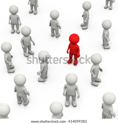 Red 3D Character Stand Out in a Crowd of White, 3D Illustration on White Background - stock photo