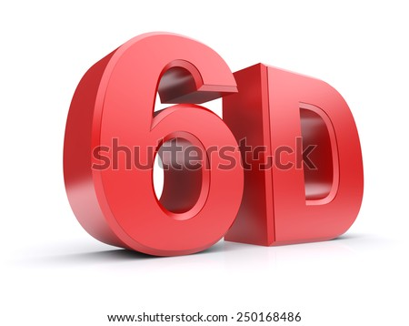 Red 3d cinema 6D. Isolated on a white background. 3d image - stock photo