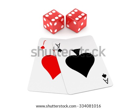 Red 3D dice with cards on white isolated background - stock photo