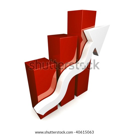 Red 3D graph on white background