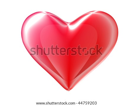 Red 3d heart isolated on white. Clipping path.