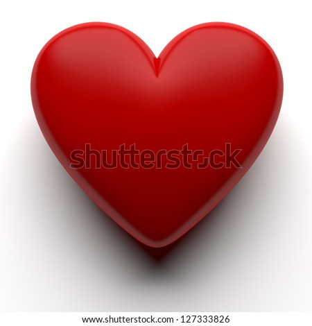 Red 3D heart isolated with clipping path - stock photo