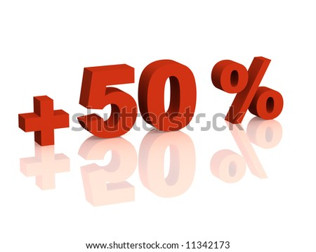 Red 3d inscription - plus of fifty percent. Objects over white - stock photo