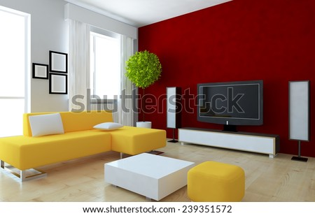 Red 3d interior of a living room with a yellow sofa