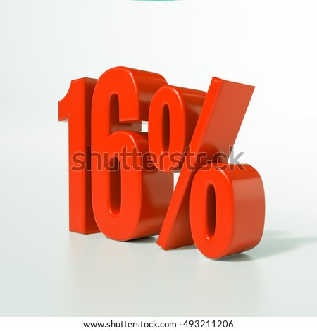 Red 16% 3d Percentage Sign on White Background, Special Offer 16% Discount Tag, Sale Up to 16 Percent Off, Special Price Offer Label for Social Media, Posters, Email, Print, Ads