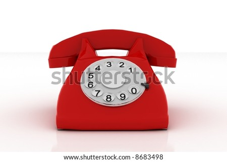 red 3d phone on white background - stock photo