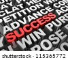 Red 3d �¢??text success in the center of different words - stock photo