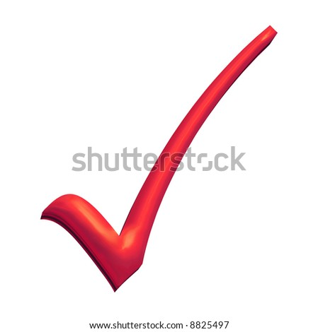 Red 3D tick, turning wrong into right - stock photo