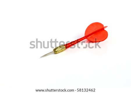 Red dart isolated on white background - stock photo