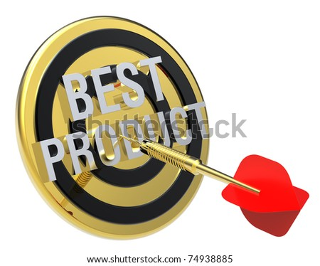 Red dart on a gold target with text on it. The concept of best product. Computer generated 3D photo rendering. - stock photo