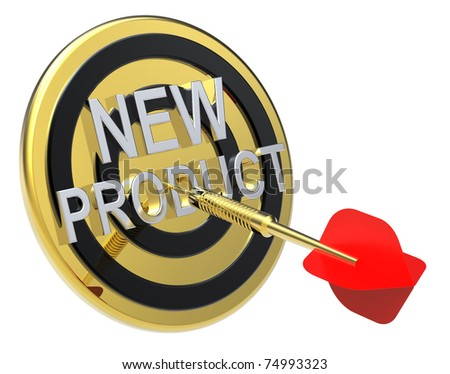 Red dart on a gold target with text on it. The concept of new product. Computer generated 3D photo rendering. - stock photo