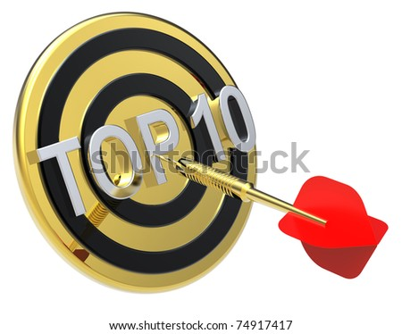 Red dart on a gold target with text on it. The concept of TOP 10 list. Computer generated 3D photo rendering. - stock photo