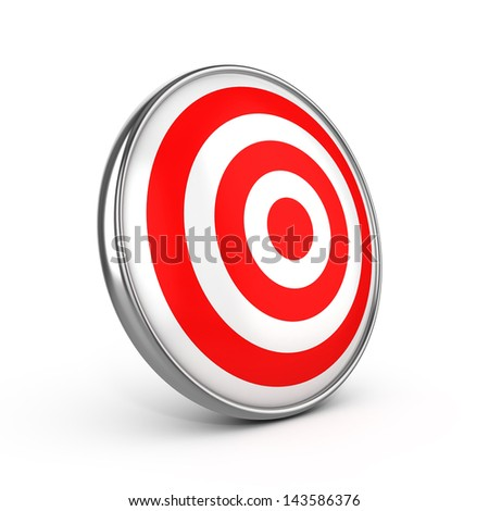 Red darts target aim on white background - stock photo