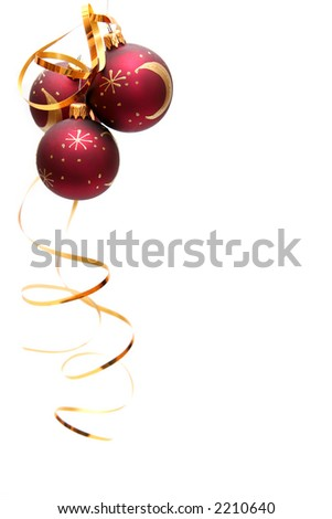 Red decorated christmas bulbs on a white background - stock photo