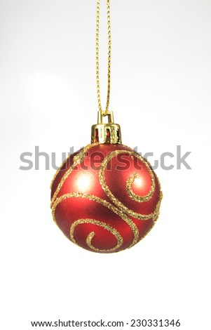 Red decoration Christmas ball on white background - stock photo