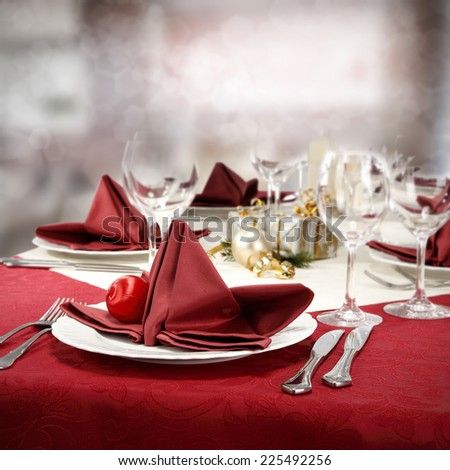 red decoration of table and red napkin  - stock photo