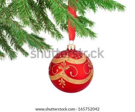 Red decorations Christmas ball hanging on a fir tree branch Isolated on white background - stock photo