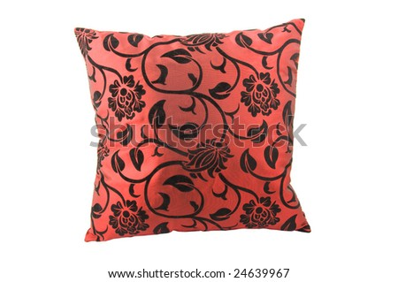 Red decorative pillow isolated on white background - stock photo