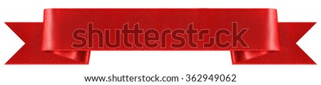 Red, decorative ribbon banner with a classic style. Photographed in a horizontal line on a white background. An attractive design element for web pages and brochures. - stock photo