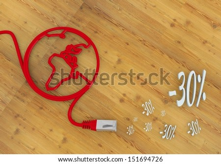 Red  -30 deduction 3d graphic with connected discount symbol on network to home office desk