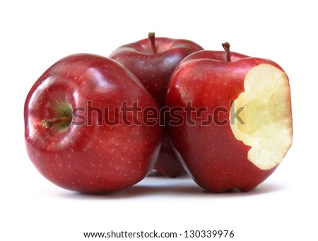 red delicious apple with bite - stock photo