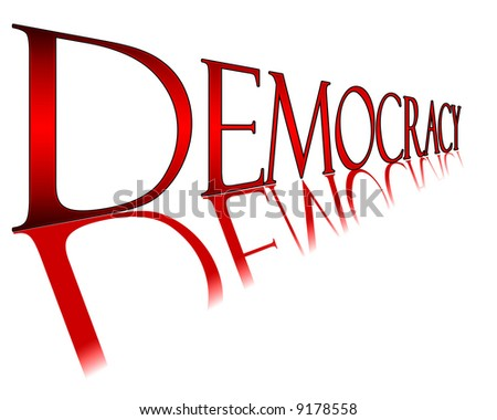 Red Democracy banner for the elections - stock photo