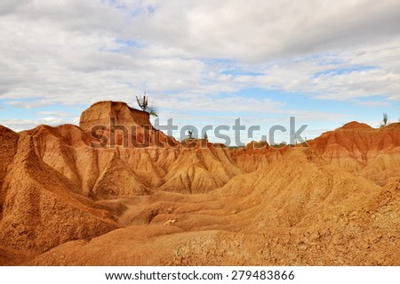 Red desert, part of desert el Tatacoa in Colombia - stock photo