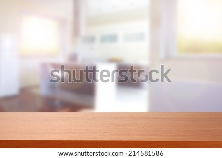 red desk and free space in kitchen place  - stock photo